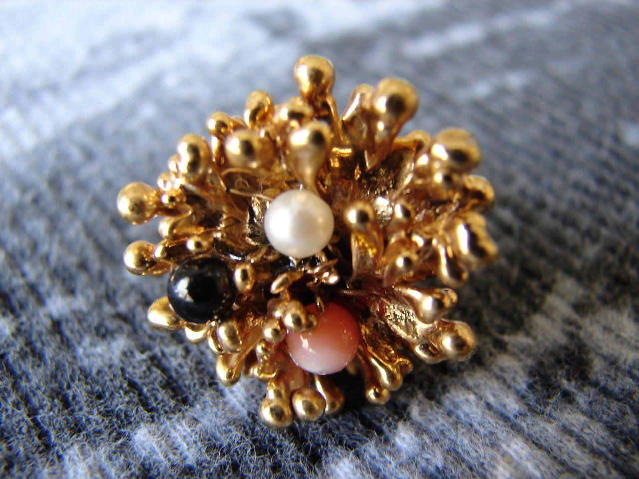 1970s gold broccoli ring gold dipped ring artisan ring