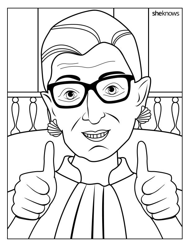 This Ruth Bader Ginsburg Coloring Book Is 9 Printable Pages of Pure ...