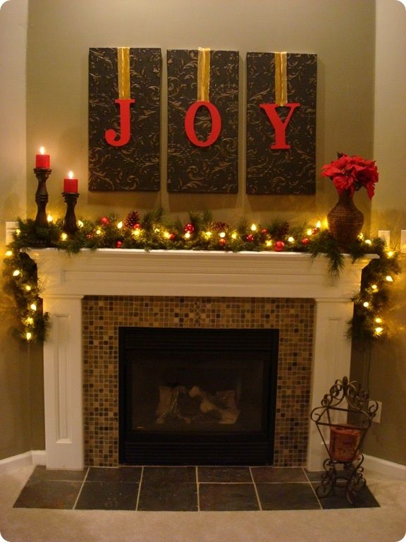 3 blank canvasespaint and hang letters over them with ribbon for - christmas decorations for mantels