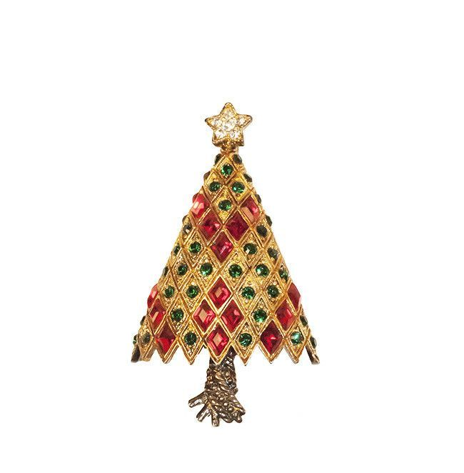 Rhinestone Christmas Tree Pin by Eisenberg Ice from Madges Hatbox
