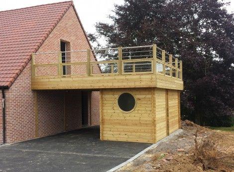 Carport adossé en bois pour abriter votre voiture - CERISIER - cerisier abri de jardin