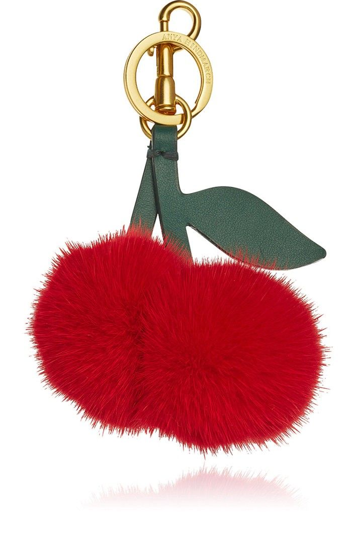 Anya Hindmarch Key Chain for Women, Key Ring On Sale, Red, Fur, 2017, One size