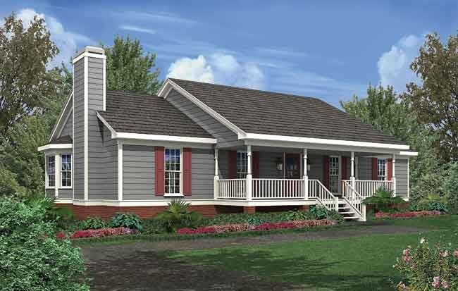 Simple front porch simple farmhouse three bays simple but elegant this small ranch looks - Simple farmhouse designs ...