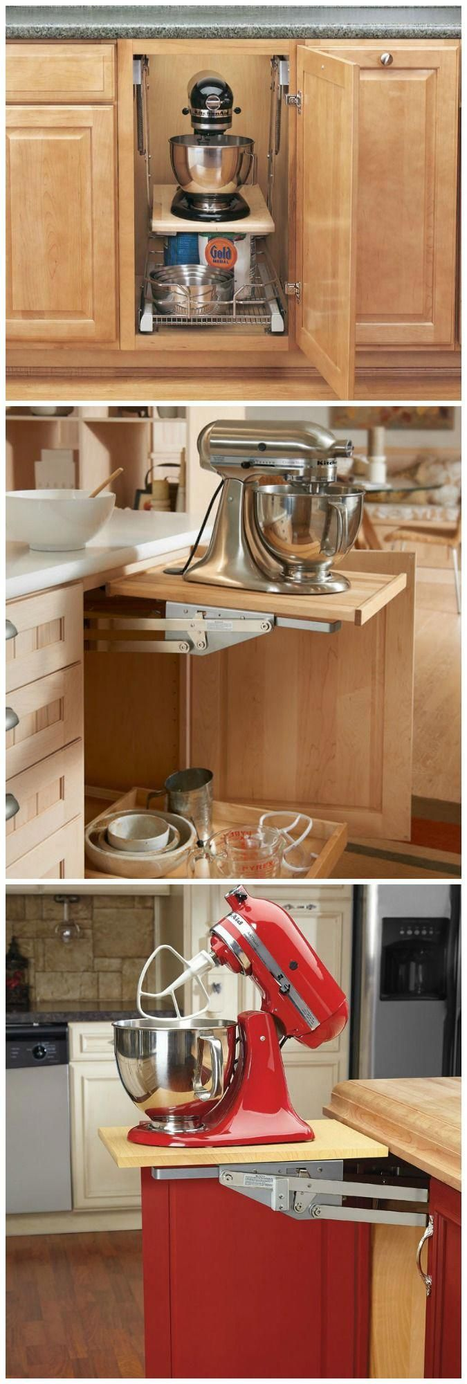 With the Rev-A-Shelf Appliance Lift it only takes seconds to raise your heavy-duty mixer and other heavy appliances out of its cabinet to counter-top level. #kitchenremodeling #countertop