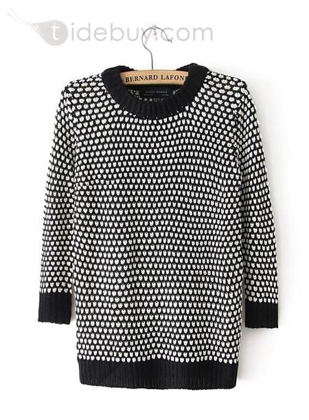Dots, Women Tops , $16.79, Topping Color Block Slim Round Neckline Polka Dots Knit Long Sweater