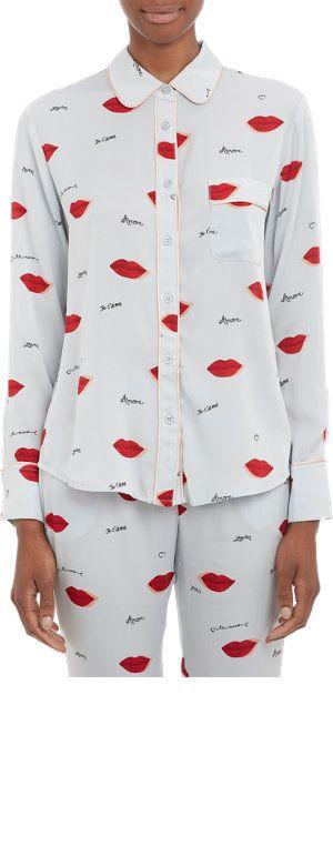 """Piamita Piped Lips-Print """"Isabella"""" Pajama Shirt at Barneys.com"""