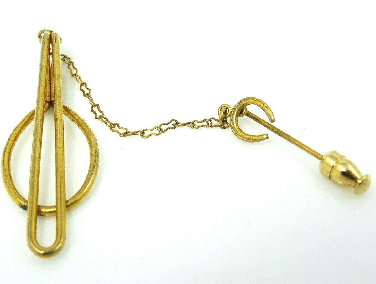 Vintage Tie Tack Tie Pin Brush Texture Gold Tone