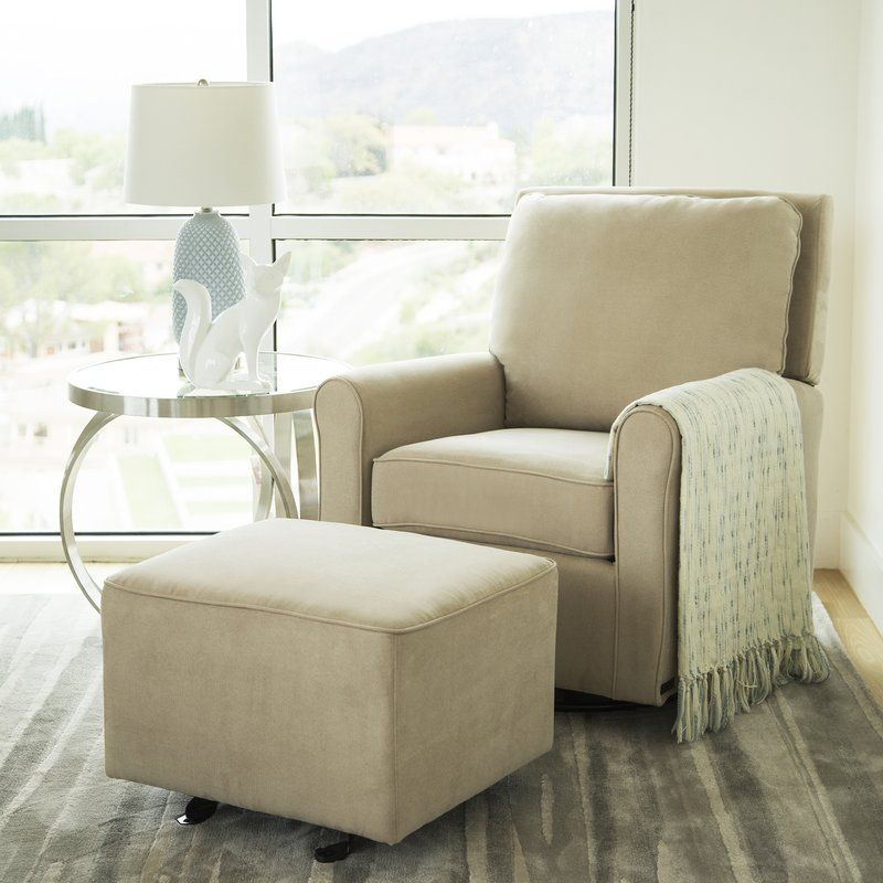 Barnwell Gliding Swivel Armchair and Ottoman Glider and