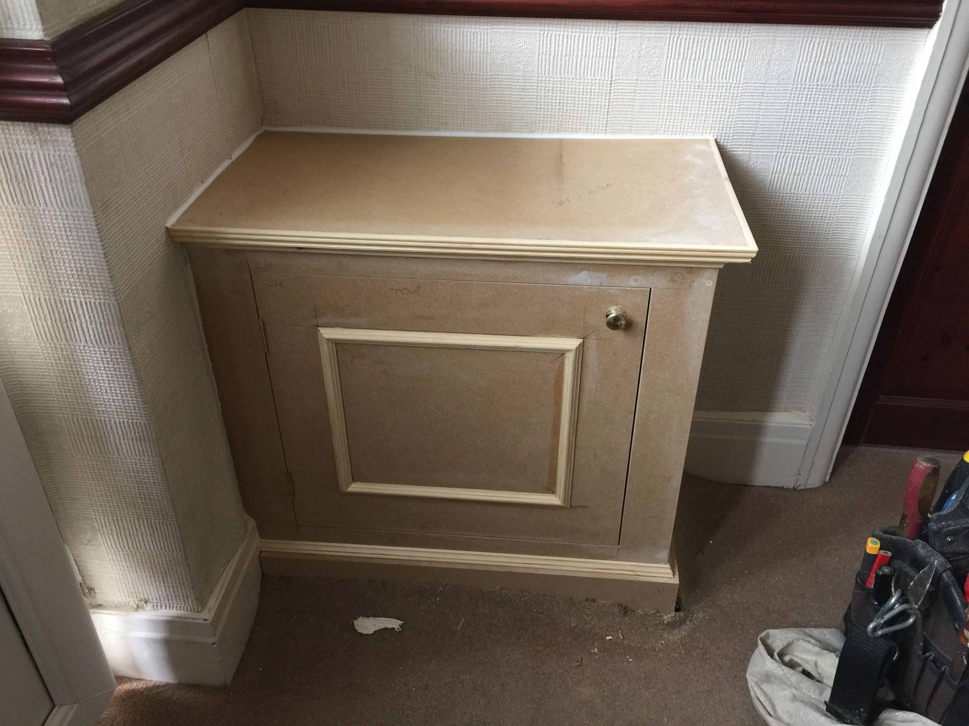 hight resolution of gas meter cupboard or cabinet in hallway made by www harrisonwoodwork com alcove