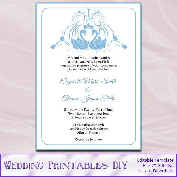 DIY Printable Wedding Invitation Templates by WeddingPrintablesDiy ...