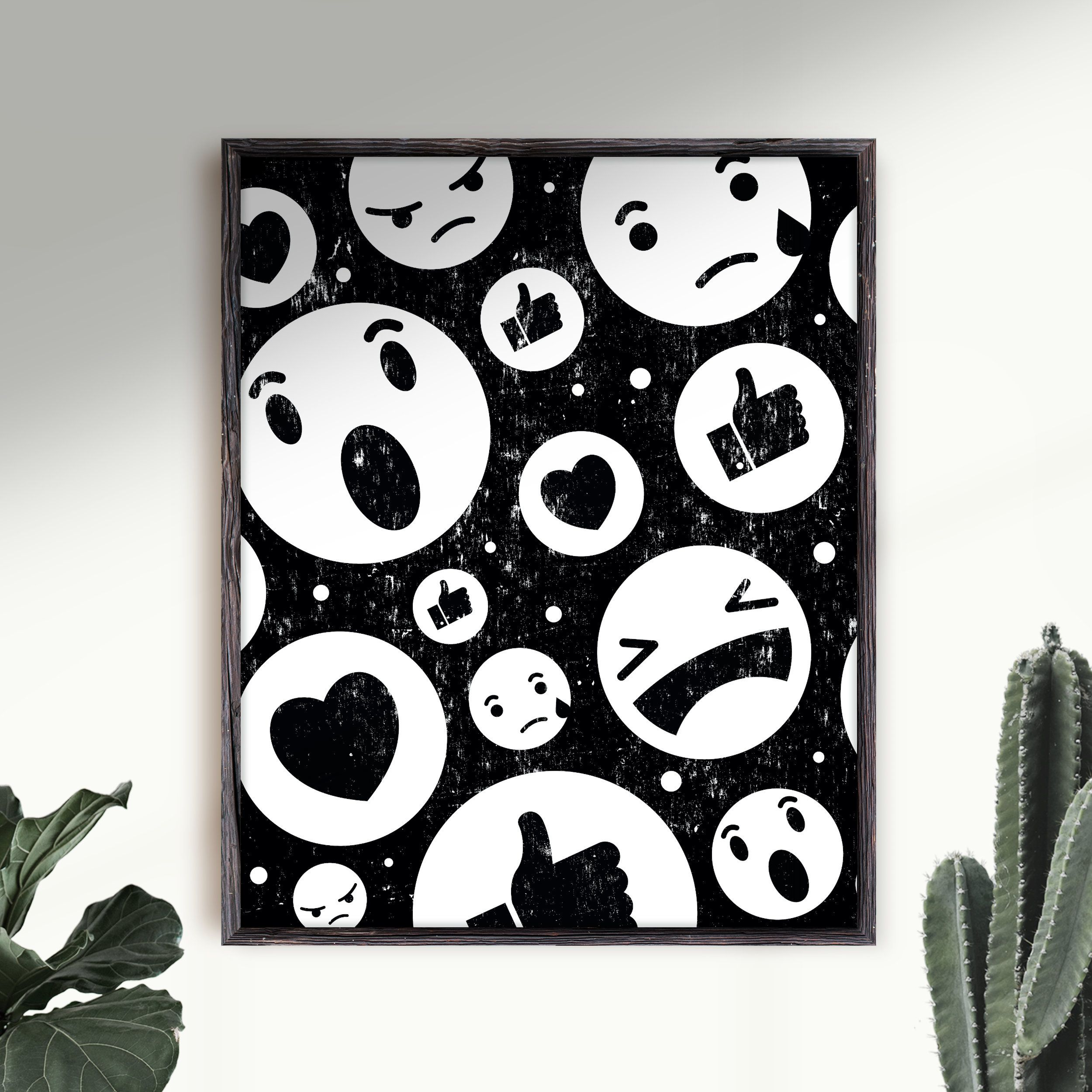 Emoji Art Print Emoji Faces Wall Art, Funny Room Decor