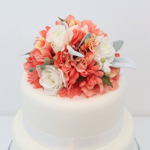 Wedding cake topper peach echo gerbera hydrangea white rose wedding cake topper peach echo gerbera hydrangea and white rose silk flower cake topper by junglespirit Image collections