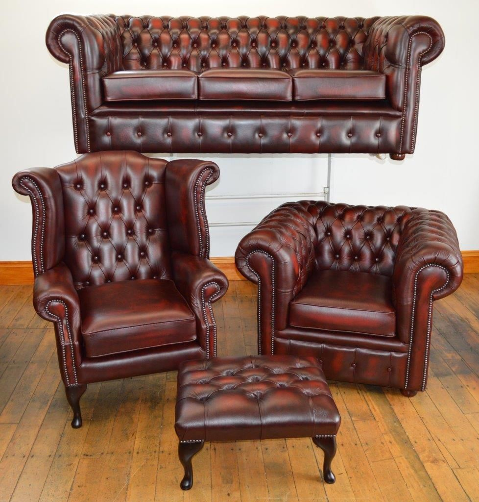 Details About Chesterfield Leather Suite Made In England 3
