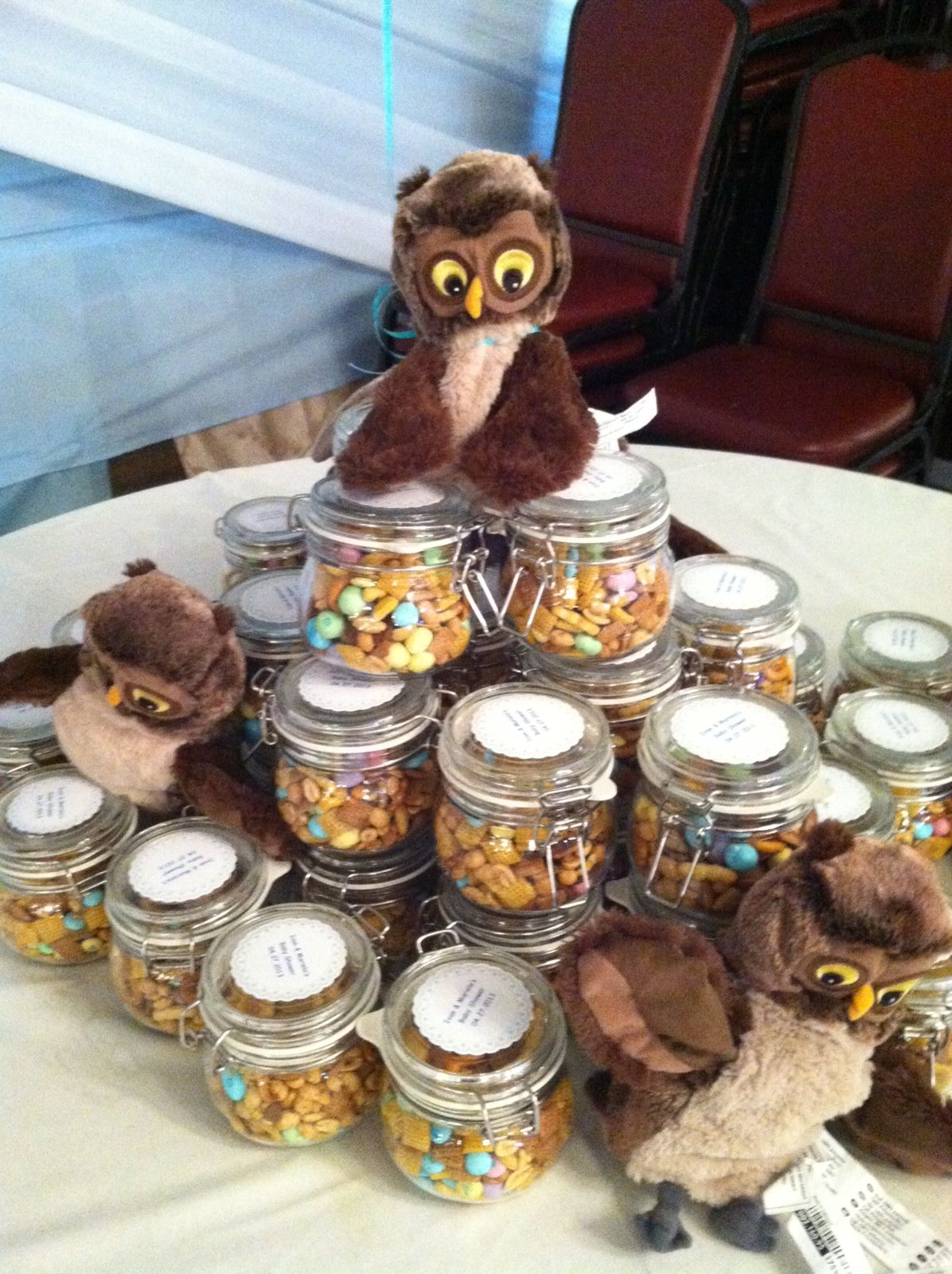 Woodland Babyshower Favors Ikea Jars Filled Wt Trail Mix, Owls Also From  Ikea