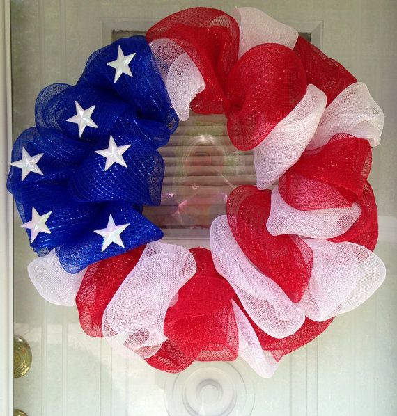 Usa Patriotic American Flag July 4th Memorial Day Red White Blue Deco Mesh Ribbon Door Wreath On