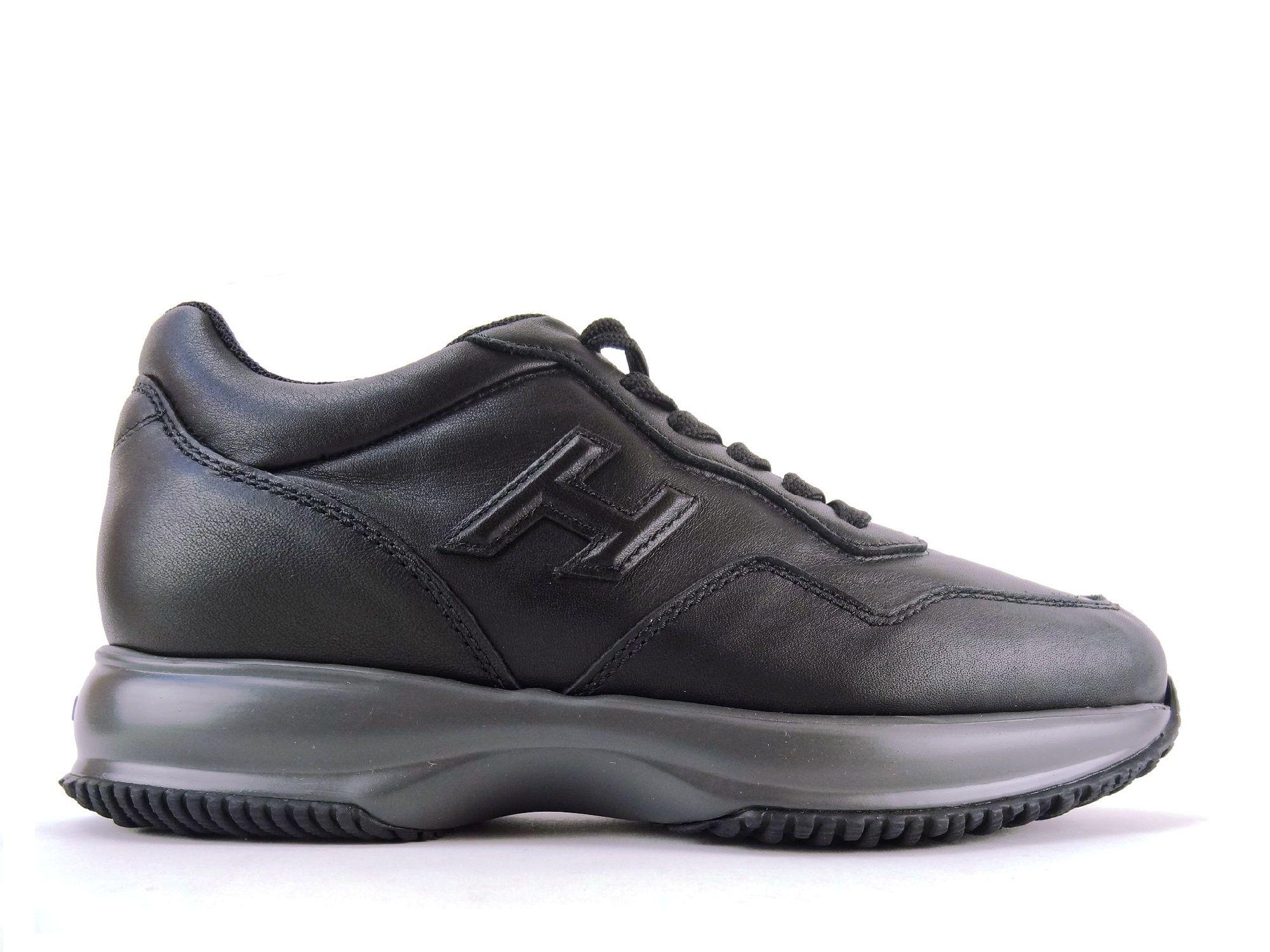 acheter populaire 06105 7abbc Sneakers Hogan - Interactive H en cuir noir | Collection P/E ...