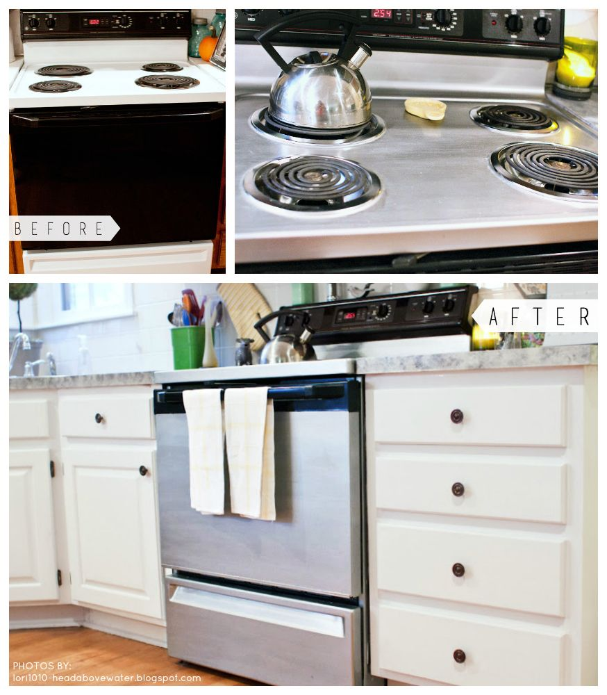You Don T Have To Live With That Outdated Stove Simply Paint It Liquid Stainless Steel Gives You Diy Kitchen Remodel Slate Appliances Kitchen Kitchen Redo