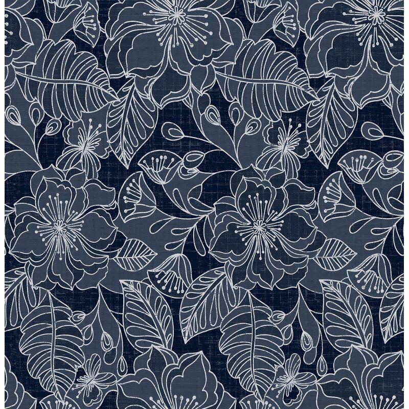 Menard 33 L X 20 5 W Wallpaper Roll Blue Floral Wallpaper Navy Wallpaper Floral Wallpaper