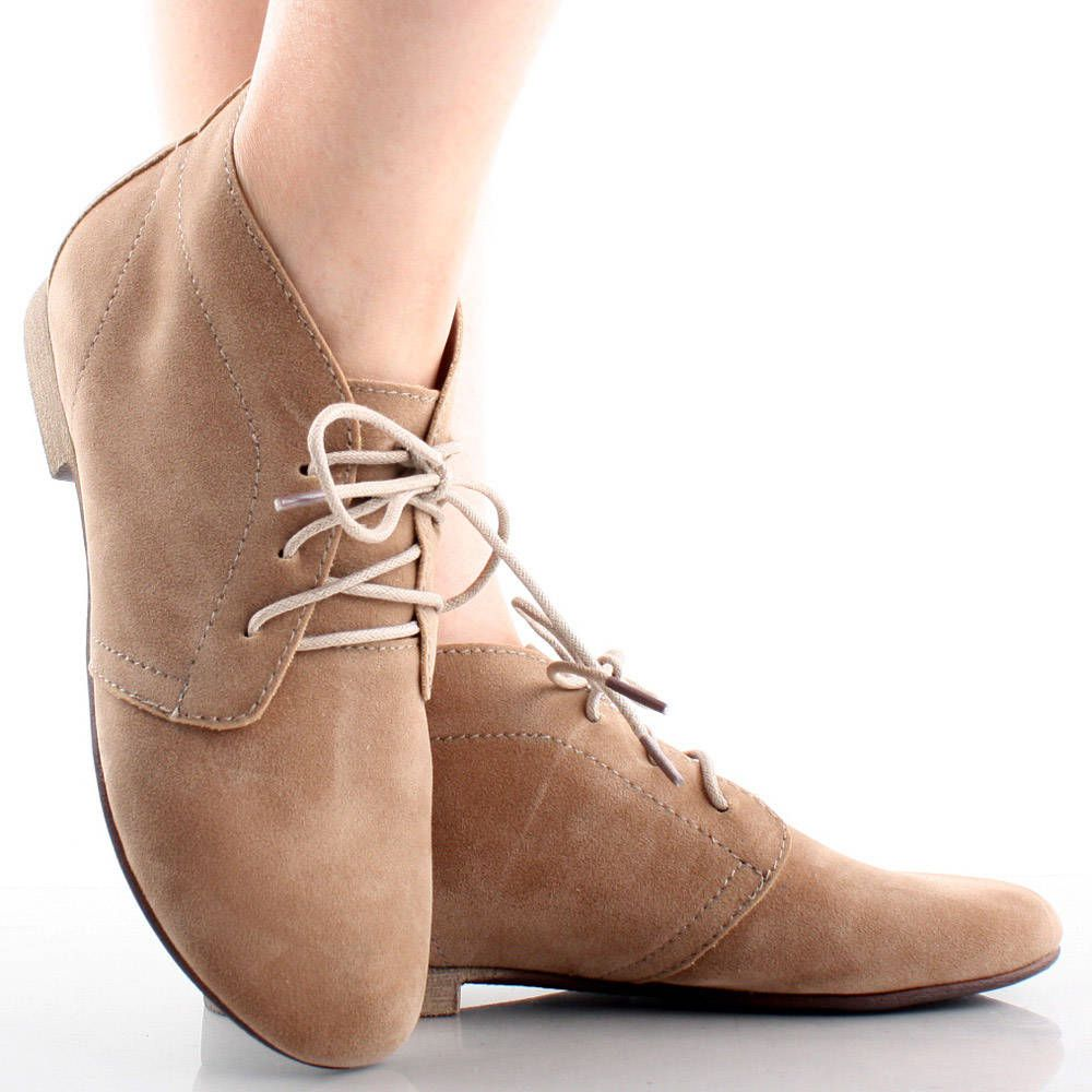 Unisex Suede Booties Ankle Boots Lace Up