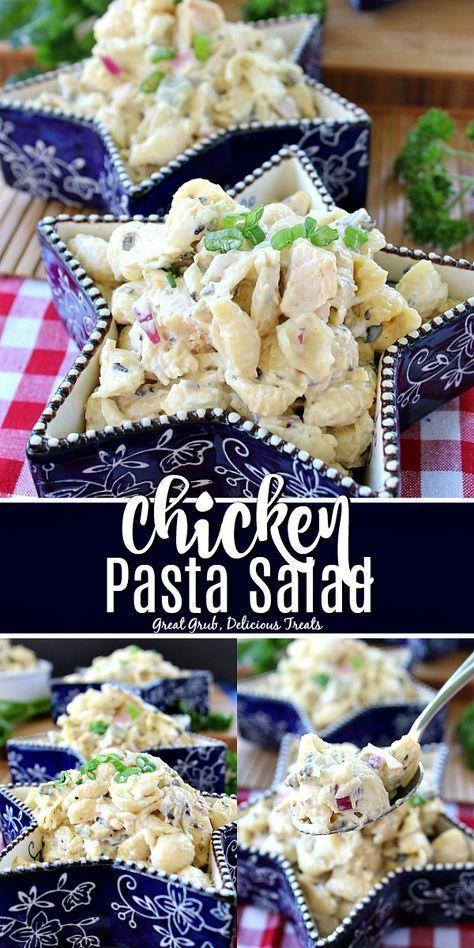 Chicken Pasta Salad ist ein einfaches Nudelrezept mit Hühnchen, roten Zwiebeln, ...   - Salads -