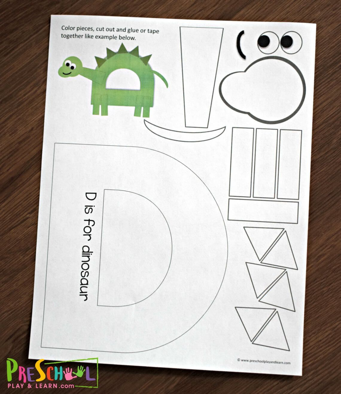 Free Printable Letter D Craft For Preschoolers Letter A Crafts Letter D Crafts Preschool Letter Crafts [ 1315 x 1140 Pixel ]