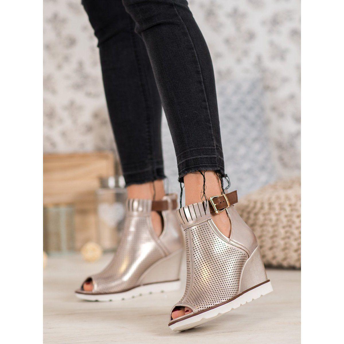 Filippo Zlote Botki Na Koturnie Zloty Chelsea Boots Ankle Boot Shoes