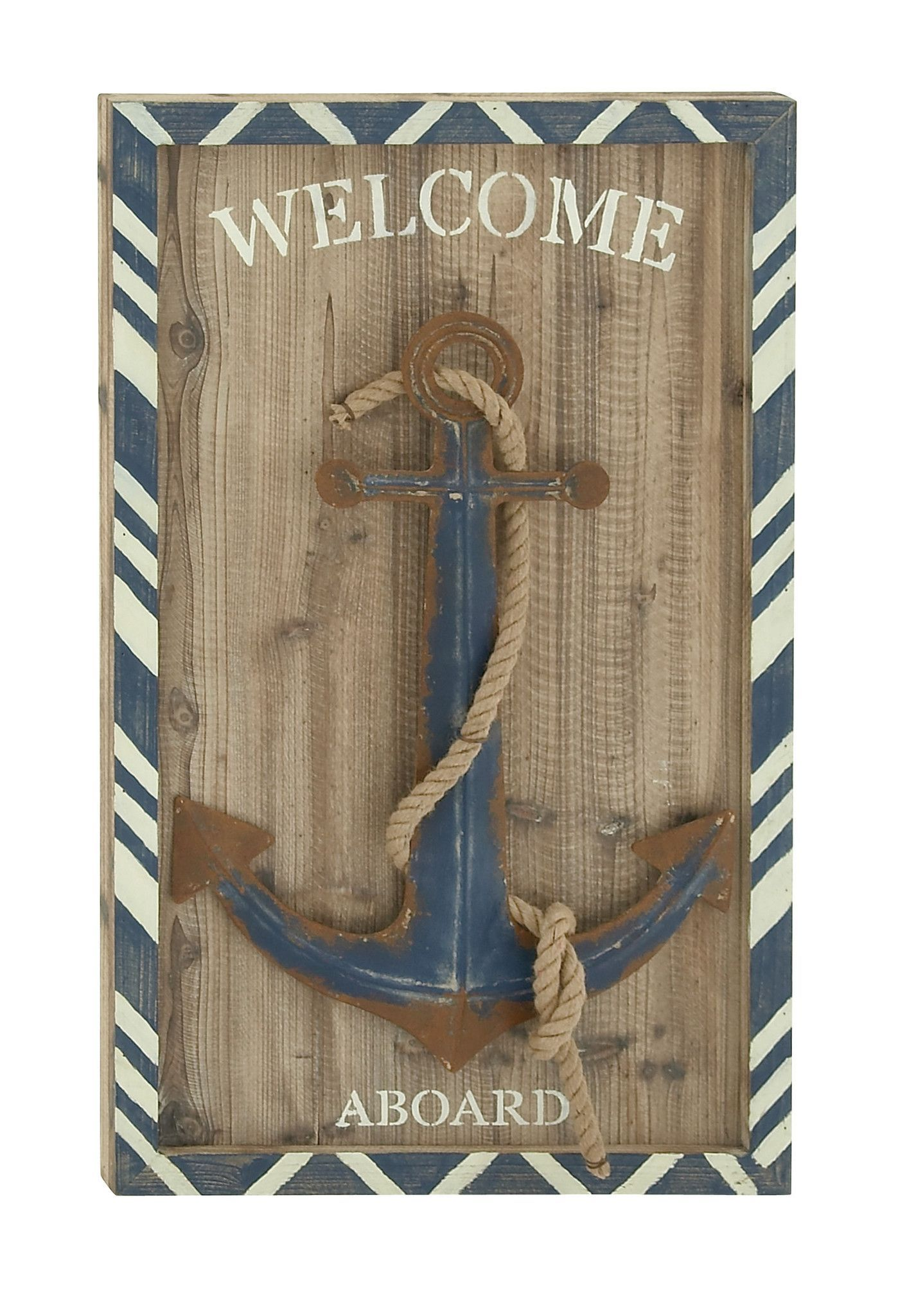 Wooden Anchor Wall Plaque Nautical Beach Decorative Wall Hanging Ornament #3
