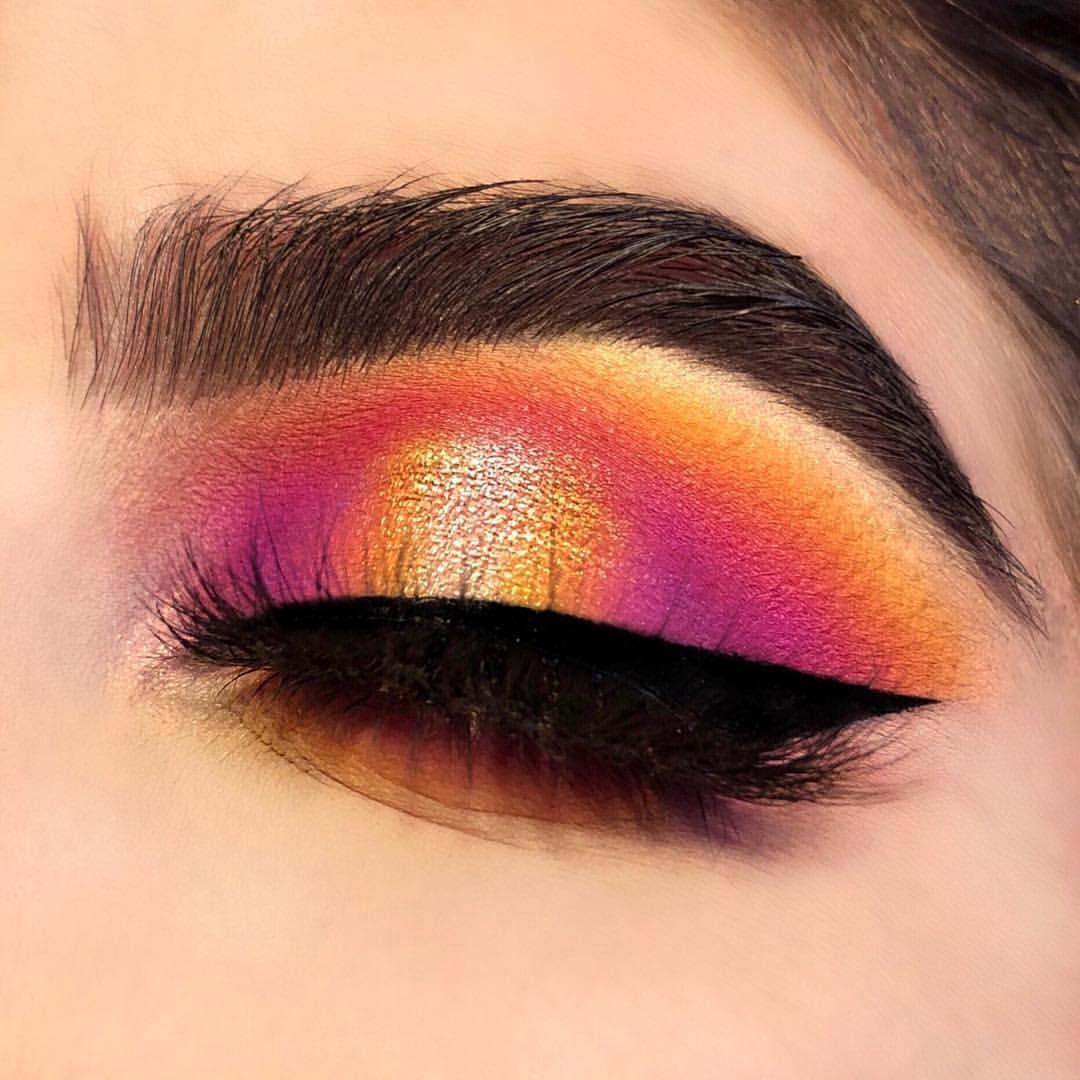 Sunset Halo Eye. Yellow, orange, purple and pink eyeshadow