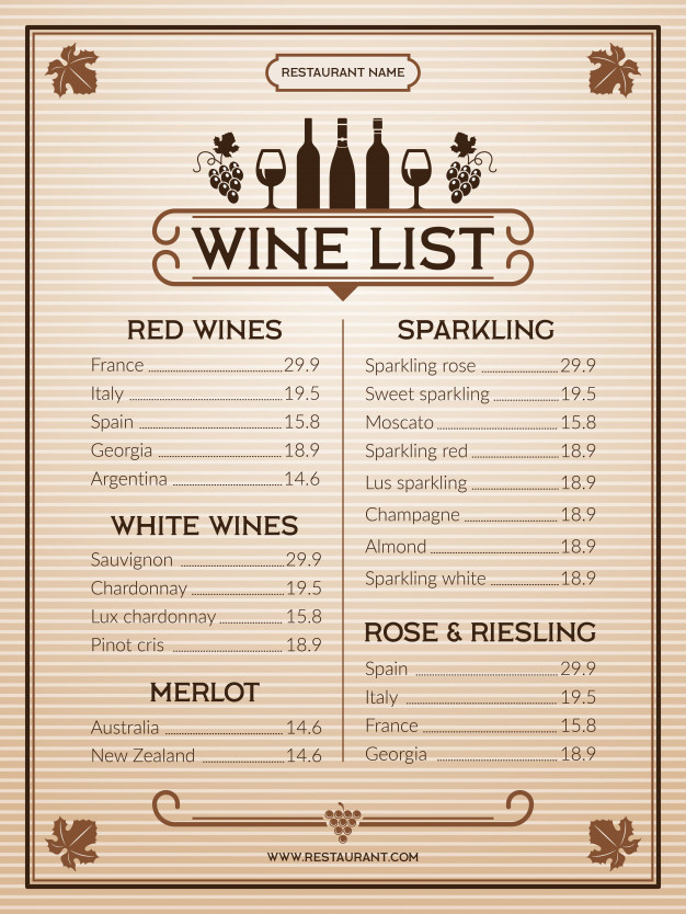 Wine Menu Template Of Restaurant Or Bar Menu Premium Vector With Free Wine Menu Template In 2020 Menu Template Menu Design Template Wine List Menu