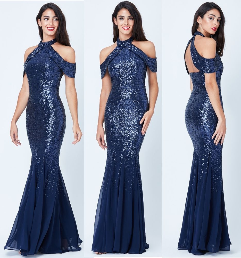 bc2cd3ab0b84 Goddiva Navy Sequin Chiffon Inserts Maxi Dress Prom Party Bridesmaid Ball  Gown