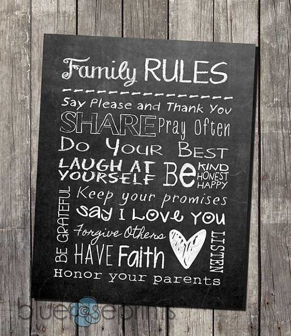 faux chalkboard home decor family rules printable subway wall art instant download - Chalkboard Decor