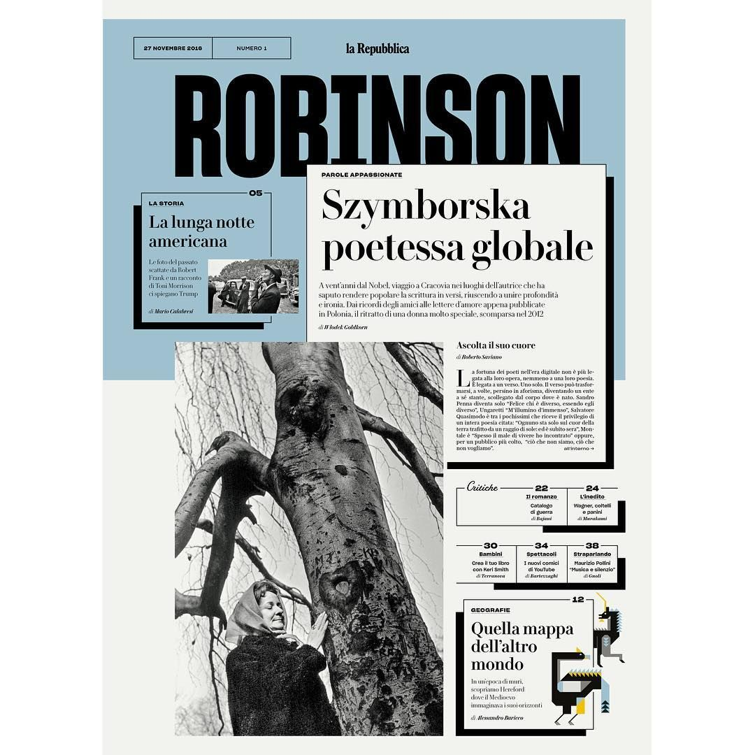 Out today: the first issue of ROBINSON, a new weekly cultural supplement in La Repubblica in Rome. @ffranchi headed up the design and used our Le Jeune and Austin News Text together with @sharp_type's Sharp Grotesk.