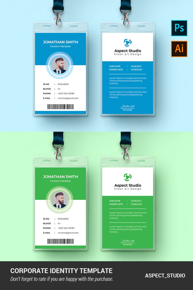 Jonathan Smith Employee Id Card Corporate Identity Template Within Id Card Template Ai Best Professional Temp Employee Id Card Id Card Template Card Template