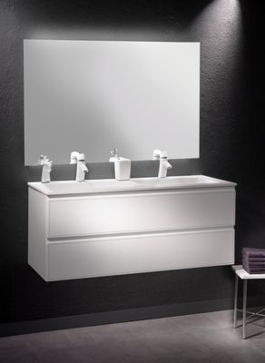 Loft Bath Blanc Mobilier fa§ade cuir Blanc Meuble double vasque