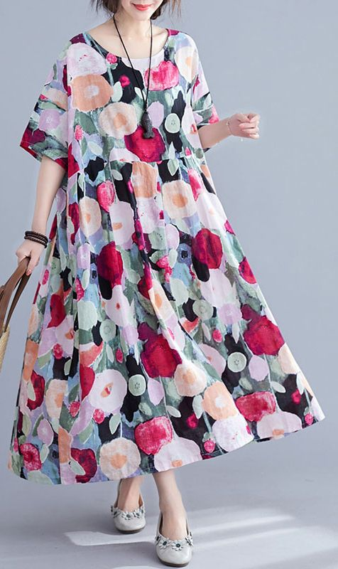 Bohemian floral Long dress half sleeve wrinkled Maxi summer Dresses