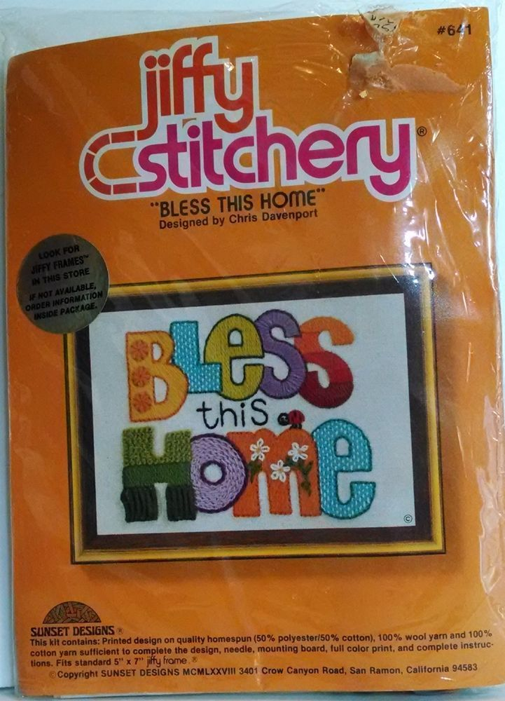 """Vintage Jiffy Stitchery """"Bless This Home"""" Embroidery Kit Easy Printed Design"""