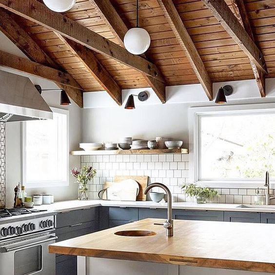 Pendant Lighting With Exposed Ceiling Kitchen Interior Interior Design Kitchen Kitchen Inspirations