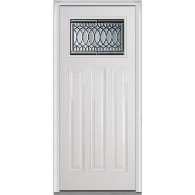 Mmi Door 36 In X 80 In Paris Right Hand Craftsman 3 Panel 1 4 Lite Classic Primed Fiberglass Smooth Prehung Front Door Efs814psp30cprr The Home Depot Fiberglass Entry Doors Mmi Door Glass Decor