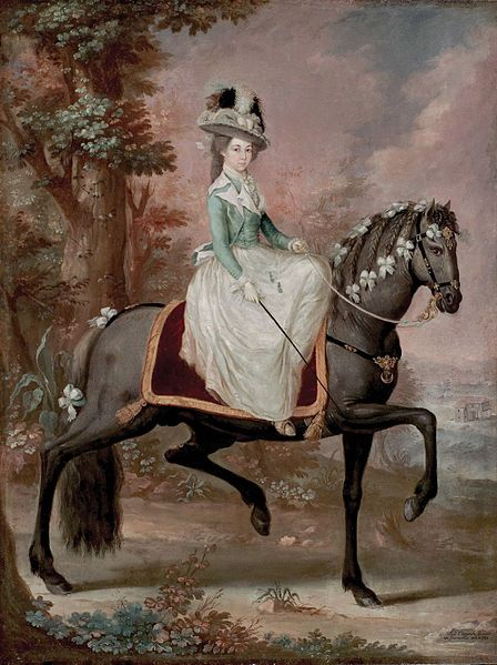 Lady on Horseback by Jose Campeche,1785. Jacket with unmatched skirt.