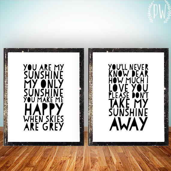 you are my sunshine quote lyrics print printable poster wall art
