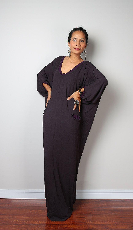 Grey maxi dress loose fit sleeve dark grey dress autumn