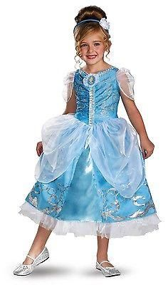Disney Cinderella Princess Sparkle Deluxe Girls Costume w/Petticoat, Headpiece - Ad#: 3909407 - Addoway
