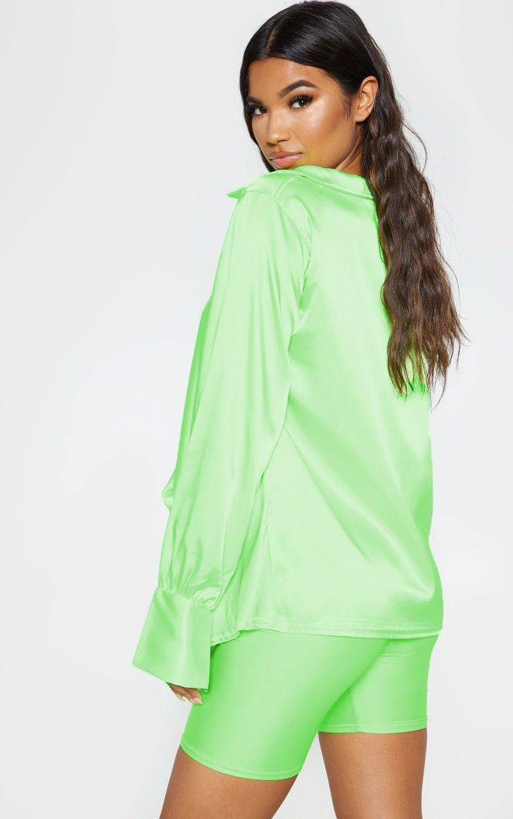 f0a7439b3c587e Neon Lime Extreme Cowl Longline Satin Shirt in 2019 | Products ...