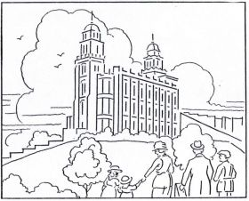 Mormon History Coloring Book 1923 August Temple Building Lds