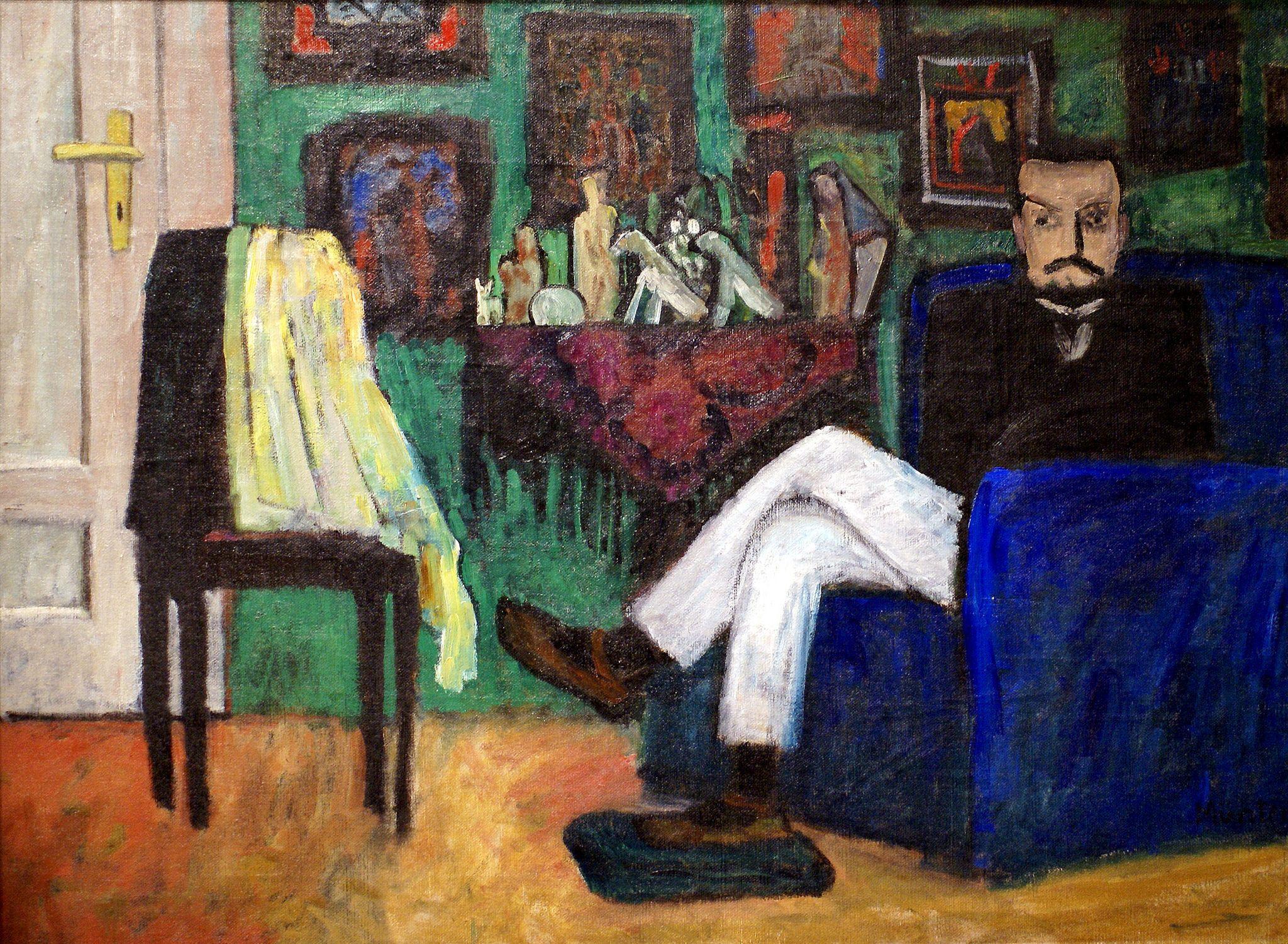 Gabriele Münter, Mann im Sessel - Man in an armchair (Paul Klee) (1913)
