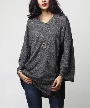 Charcoal French Terry Lace-Panel Tunic #zulily #zulilyfinds