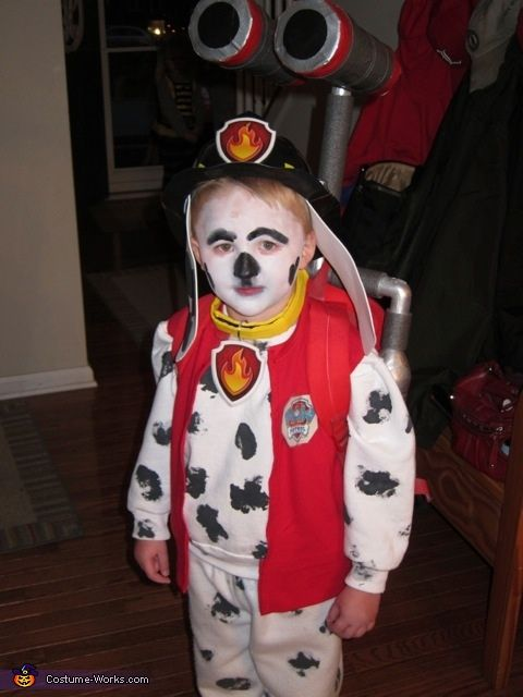 Paw Patrol Marshall  Halloween Costume Contest at CostumeWorks com - Marshall paw patrol, Halloween costume contest, Marshall halloween costume, Halloween costumes for kids, Paw patrol, Creative halloween costumes - Karen My son loves Paw Patrol and the costumes were lacking  We put our heads together and came up with what we think is an awesome homemade version  Started by spray