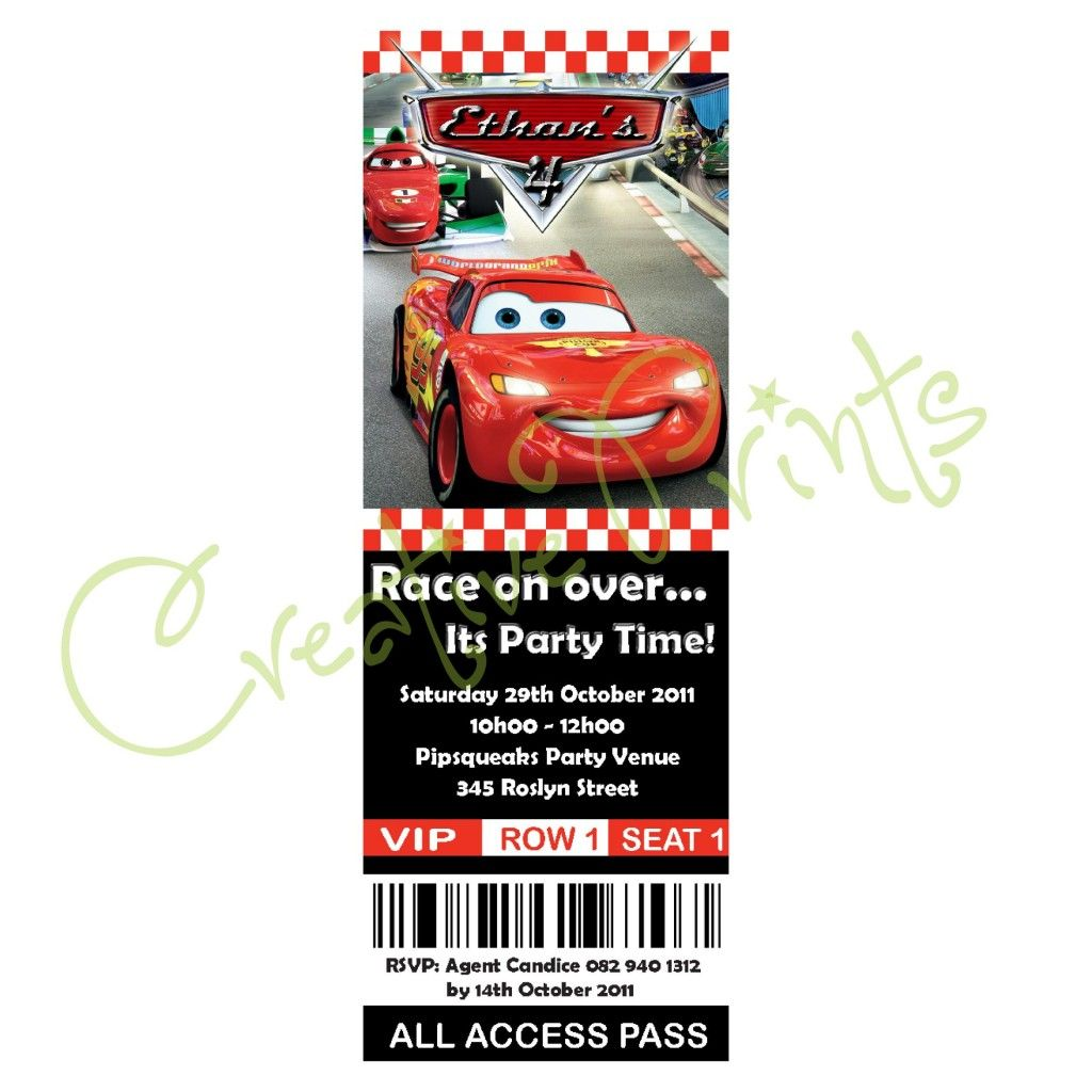 Disney Cars Party Invite Angels Birthday Party Pinterest