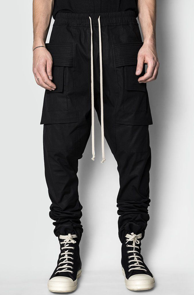 d4c3ecf7e626 Men s black cotton drawstring creatch cargo pants from the AW17 18  collection from Rick Owens DRKSHDW.