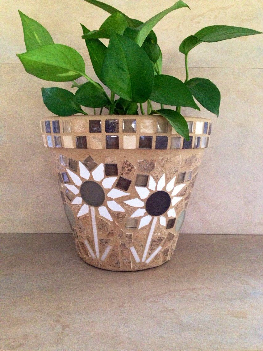 Mosaic tiles planter, mosaic art flower pot, indoor planter, outdoor planter, kitchen plant pot, handmade garden pots, patio container - pinned by pin4etsy.com